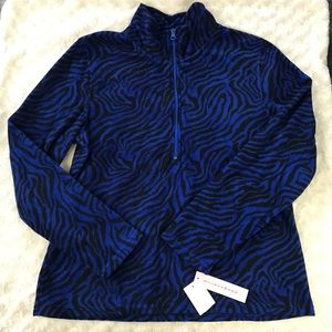 Silverwear Fleece Pullover Petite Large Blue Black